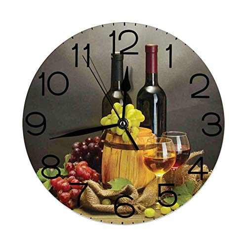 GoodLucke Reloj de Pared Decorativo para el hogar, Bodega, Botellas de Barril y Copas de Vino y Uvas maduras en Mesa de Madera, Estampado de Cuadros, Multicolor