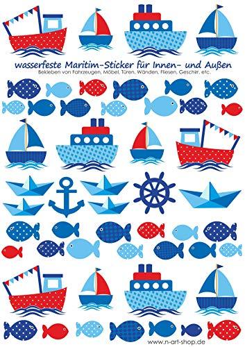 Schiffe wasserfeste Sticker Aufkleber zum Bekleben von z.B. Brotdosen (Rot-Blau)