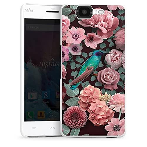 DeinDesign Hard Hülle kompatibel mit Wiko Highway Schutzhülle weiß Smartphone Backcover Kolibri Vogel Blume