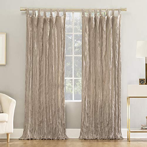 "No. 918 Odelia Distressed Velvet Semi-Sheer Tab Top Curtain Panel, 50"" x 63"", Stone"