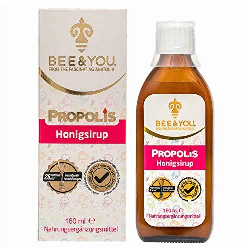 Bee&You ® | Propolis Honigsirup für Kinder | 29 Internationale Auszeichnungen | 8 Zertifikate | Wohltuende Zusammenmischung | non-GMO | Glutenfrei | Glucosefrei | Fairer Handel |