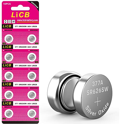 LiCB 10 Pack SR626SW 377 Watch Battery,Long-Lasting & Leak-Proof,High Capacity Silver Oxide 1.55V Button Cell Batteries for Watch