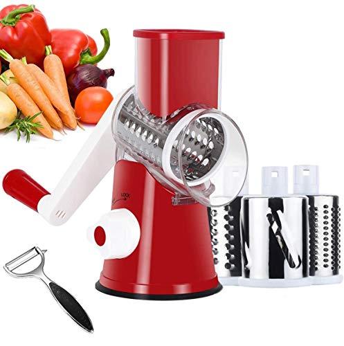 RNTCLAWCT Sumo Slicer Livington - Grattugia multifunzione 3 in 1, per tagliare, rotante, rotante, per noce, verdure, patate (rosso)