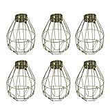 FRCOLOR Paquete de 6 Bombillas de Metal de Protección de La Jaula de Luz Industrial Vintage Pequeña Sombra de Lámpara de Metal para Colgar La Iluminación Colgante