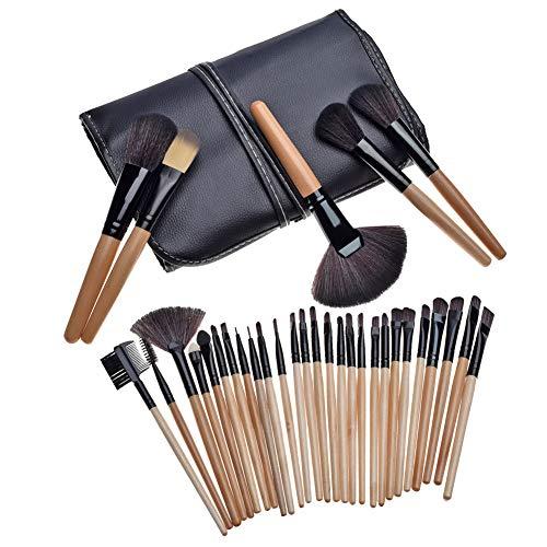 Pinceaux de Maquillage 32 Pièces Brosse de Maquillage Professionnel Synthétique Fusion de Fond de Teint Concealer Eye Visage Liquide Poudre Crème Cosmétique Pinceaux kit avec Étui,Marron,32 Pièces