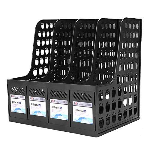 Organizador de documentos A4 con 4 compartimentos para revistas de plástico