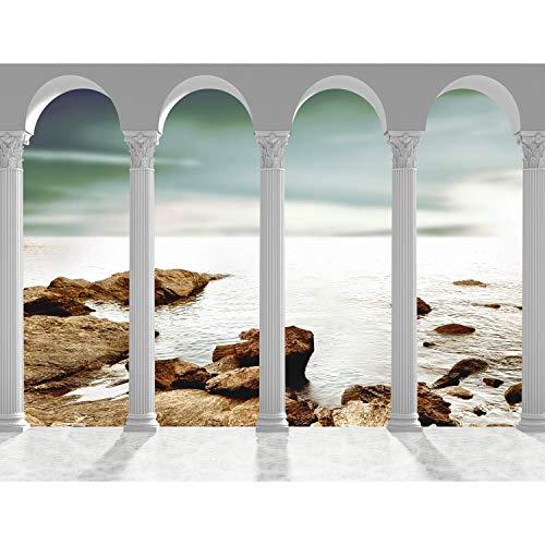 Runa Art Fototapete Meer Säulen Modern Vlies Wohnzimmer Schlafzimmer Flur - made in Germany - Braun Grau 9033010c