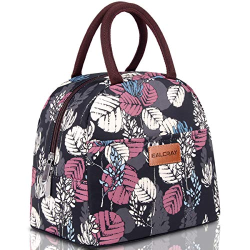 BALORAY Lunch Bag Tote Bag Lunch Bag for Women Lunch Box Insulated Lunch Container (Black with Leaves)