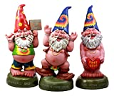 "Ebros Free Spirited Pot Smoking Hippie Gnome Statue Set 13.5"" H Carefree Garden Gnomes Sculptures"