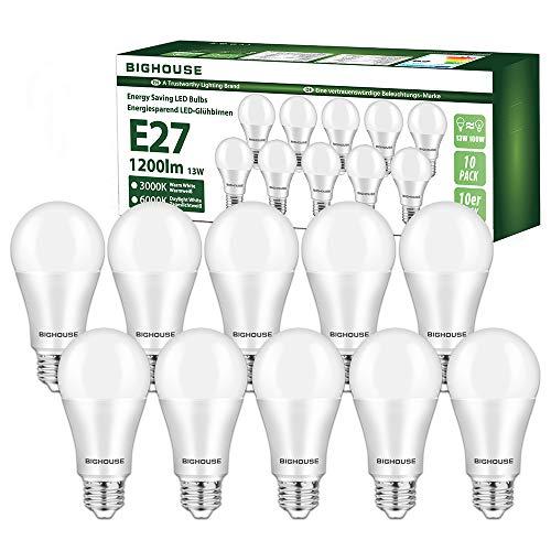 E27 LED Lampe, 13W 1200 Lumen LED Lampe Ersatz für 100W Halogen, 3000K Warmweiß, A60 Leuchtmittel, 220-240V AC, 10 Stück