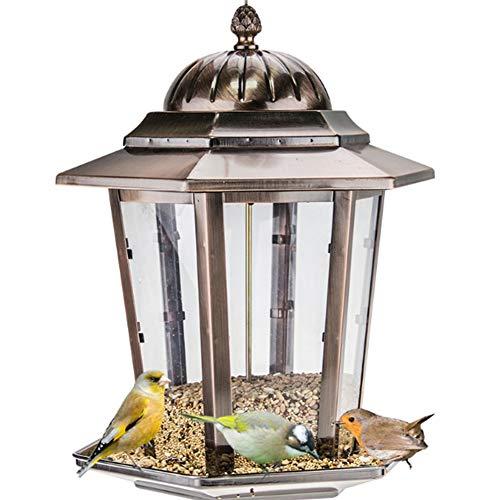 GAODINGD Comederos para pájaros Alimentador de Aves Salvajes al Aire Libre para el Patio de jardín Decoración Exterior,Capacidad de semilla de alimentación de Aves de Vidrio de Metal,fácil de Limpiar