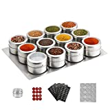 12 Magnetic Spice Tins,Stainless Steel Spice Jar Containers with Wall Mounted Spice Jars