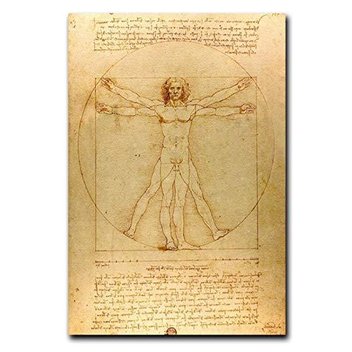 Pintura clásica famosa Hombre de Vitruvio Estudio de propor