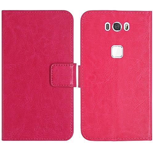 TienJueShi Rosa Flip Book-Style Brief Leder Tasche Schutz Hulle Handy Hülle Abdeckung Fall Wallet Cover Etui Skin Fur Gigaset ME GS55-6 5 inch