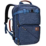 WITZMAN Travel Backpack for Men Carry On Canvas Backpack Duffel Bag Durable Rucksack (A561 Dark Blue)
