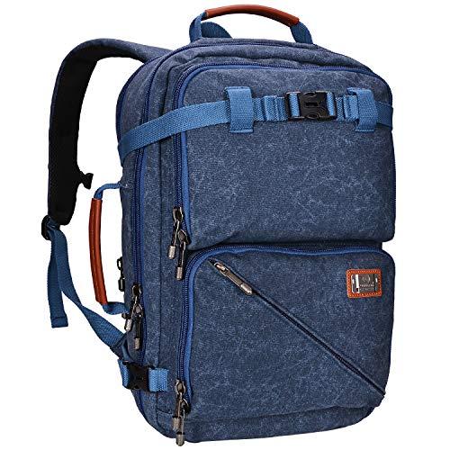 WITZMAN Mochila de viaje para hombre, mochila de lona resistente (A561, azul oscuro)