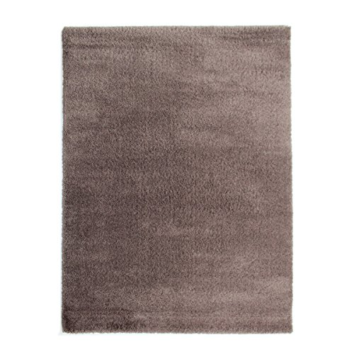 havatex Mikrofaser Shaggy Teppich Baloo - Braun Weiß oder Grau | kuschelig weicher Flauschteppich | Wohnzimmer Schlafzimmer …, Farbe:Braun, Größe:160 x 230 cm