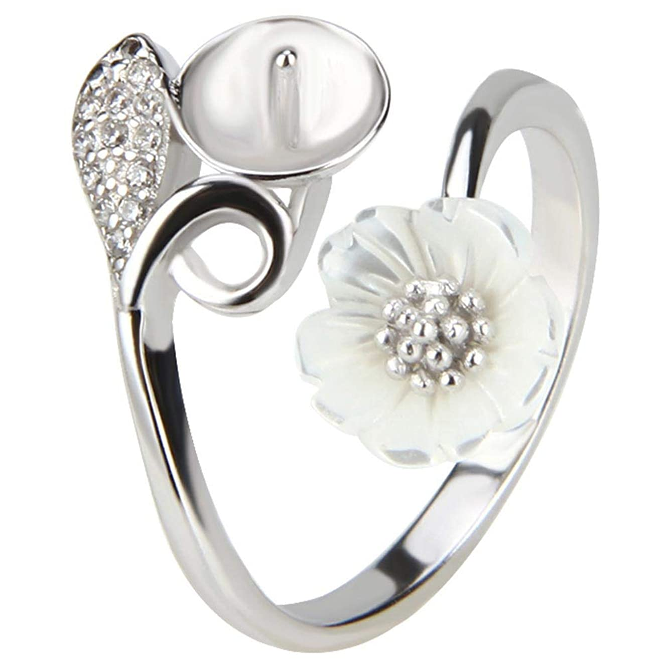 NY Jewelry 925 Sterling Silver Adjustable Flower Ring for Pearl, Pearl Ring Mounts Fittings for Women DIY Jewelry Making(925 Silver/Gold Plating)