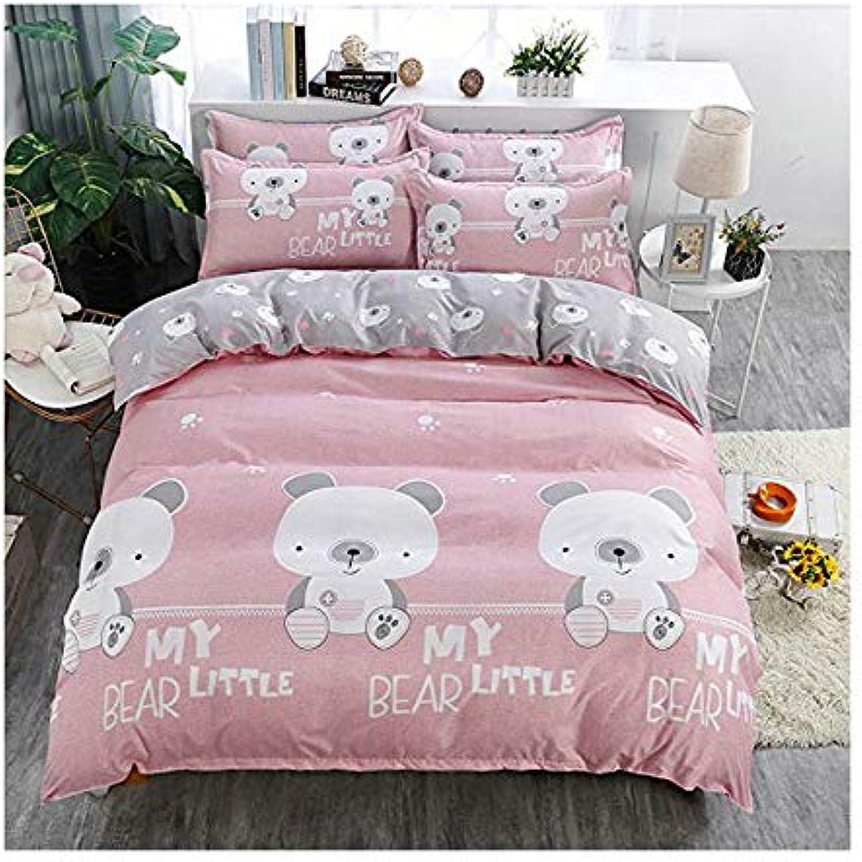 KFZ Bed Set 4pcs Bedding Set Cartoon Animal Design Duvet Cover Without Comforter Flat Sheet Pillowcase XS Twin Full Queen King Rock Bear Sweetheart Champion Star (Little Bear, Pink, Queen,78 x90 )