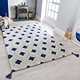 Flair Rugs Nappe Marco - Alfombra (100% Lana, 120 x 170 cm), Color Azul