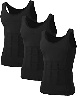 TOPTIE Mens Slimming Body Shaper Waist Trainer Vest Chest Gynecomastia Compression Shirt, 3 Pack