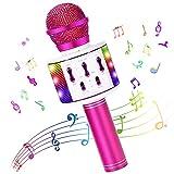 Microfono Karaoke Bluetooth Wireless per Bambini Karaoke macchina Portatile con Luci LED Danzanti Compatibile Bambini Altoparlante Funzione di registrazione funzione audio magica per Cantare Home KTV