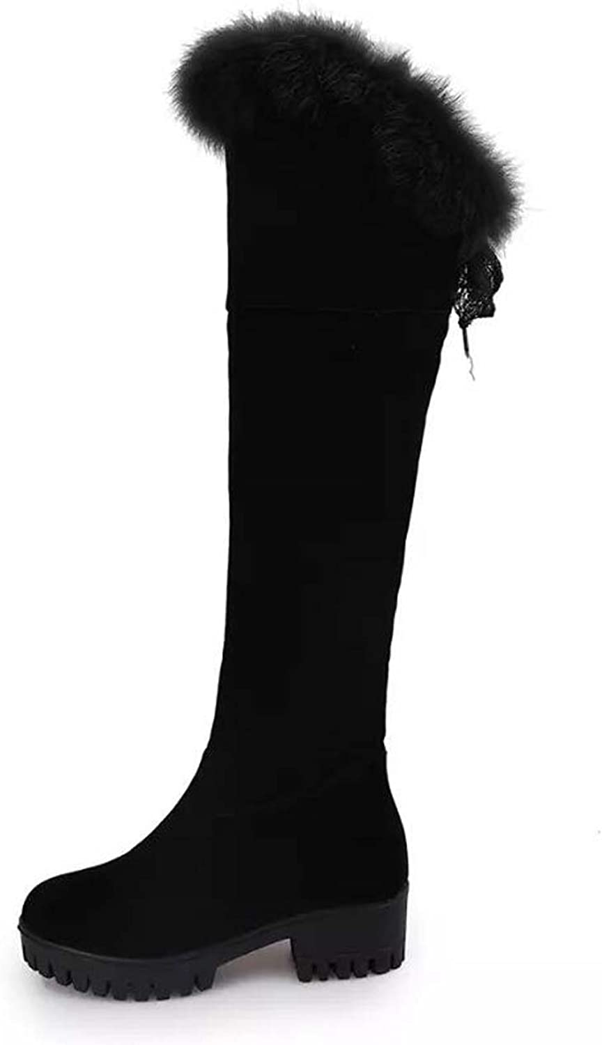 Moongodess Women Winter Warm Long Snow Boots Over Knee Boots with Synthetic Fur