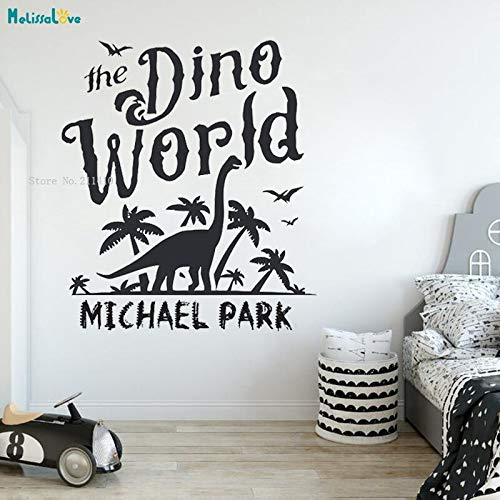 Hjnsxs Life in the Age of Dinosaurs Custom Name Wall Stickers Desire to explore unknown mysteries to children Boys Room Kindergarten Mural-50X57cm