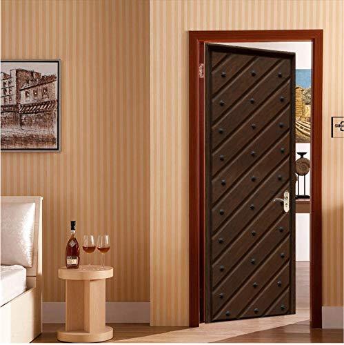 Etiqueta engomada de la puerta de grano de madera Retro para sala de estar dormitorio PVC papel tapiz autoadhesivo DIY decoración del hogar calcomanías murales 3D impermeables