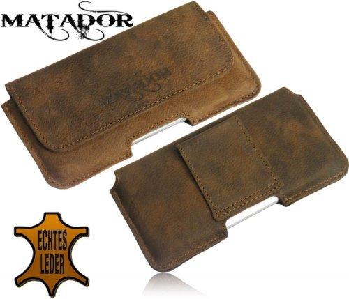 Matador Echt Leder Tasche Case Hülle Handytasche Gürteltasche Quertasche für Huawei Ascend W1 in Antik Tobacco Vintage Style mit verdecktem Magnetverschluß und Gürtelschlaufe - 6