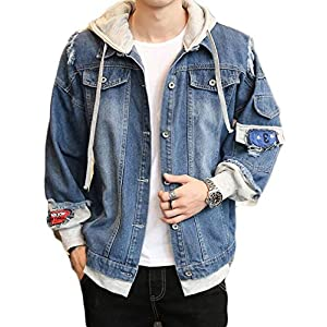 Men's Denim Hooded Jacket Casual Button-Down Ripped Jeans Jacket Coat...