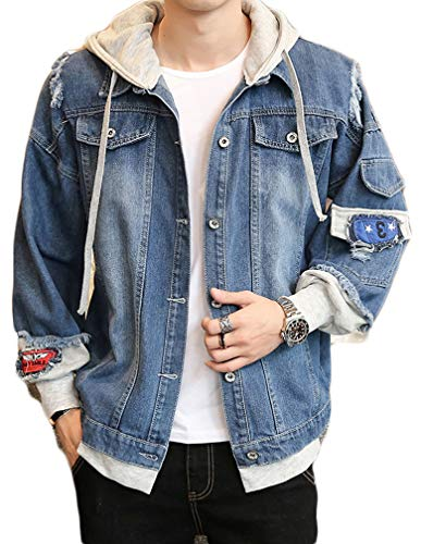 Lavnis Men's Denim Hooded Jacket Casual Button Down Ripped Jeans Jacket Coat Outwear Dark Blue L