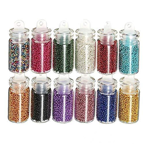 12 PCS 3D Colorido de uñas Mini Perlas de los Granos Caviar manicura del Arte Decoraciones, con Vidrio Transparente Botella