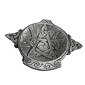 Pewter Moon Phase Pentacle Wiccan Altar Bowl