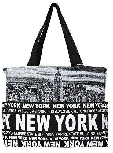 Robin Ruth New York Skyline Canvas Tote Shoulder Bag Black/Black