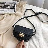 BVDS - Bandolera de piel con patrón de cocodrilo vintage para mujeres pequeñas bolsos y bolsos de mujer, negro, 20cm x14cm x5cm