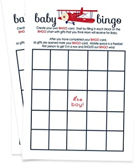 Paper Clever Party Airplane Baby Shower Bingo Game Cards (Set of 25)