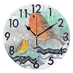 Chic Houses 8 Inch Wall Clock Bird Clock Beautiful Animal Bathroom Kitchen Wall Clock Art Non Ticking Quiet for Living Room Bedroom Decor Round Clock 2030049