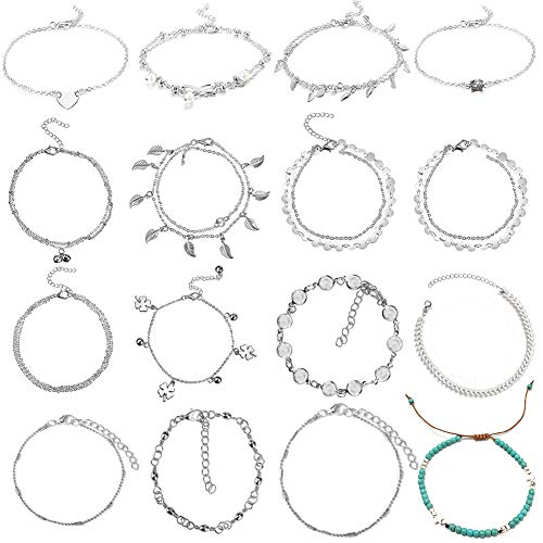 BHAHAI 16 Pieces Ankle Bracelets, Boho Adjustable Foot Anklets Chains Multi Layer Beach Anklet Bracelets Ankle Foot Chain Beach Foot Jewelry Infinity Anklets Set for Women Girls Barefoot