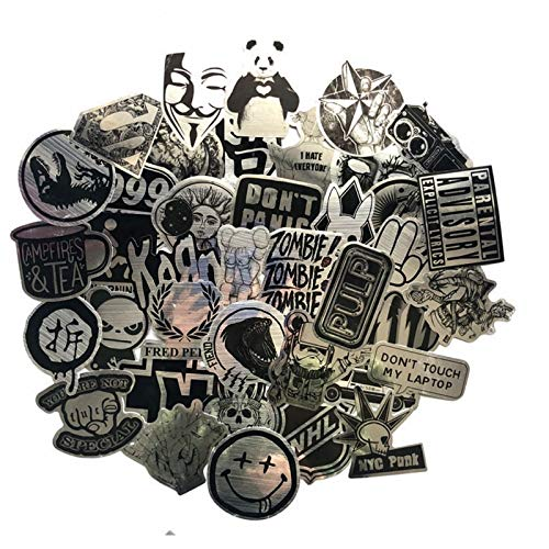 Metallic Black And White Stickers Wire-Drawing Graffiti Sticker For Laptop Luggage Car Styling Guitar Waterproof Decals 50 Pcs
