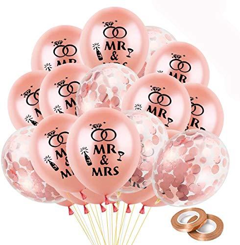 Hochzeit Luftballons Rosegold,Hochzeits Ballons, MR & MRS Luftballons, Hochzeitdeko Hochzeitsballons, Konfetti Luftballons Rosegold für Hochzeit Fest Party Brautdusche