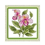 Set de bordado tapiz'Little Happy Flower' Juego de bordado de punto de cruz 21x21cm.Incluyendo hilo de algodón de múltiples hilos cod.119
