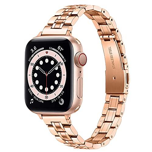 TRUMiRR Correa Delgada de Repuesto para Apple Watch Series 6 / SE 40mm 38mm, Correa de Reloj de Acero Inoxidable Correa Femenina para iWatch Apple Watch SE Series 6 5 4 3 2 1