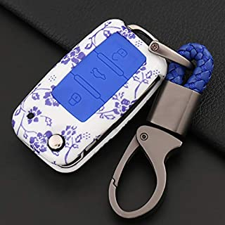 ontto Remote Key Fob Case Cover with Keychain Key Rring Key Shell Key Holder Key Protecor Prevent Falling and Sratch Fit for Volkswagen Passat Jetta Golf EOS GTI Rabbit Beetle 3 Buttons Blue
