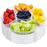 12' Plastic Round Party Serving Tray 5 Compartments 6 Pk Clear Fruits Veggies BPA Free