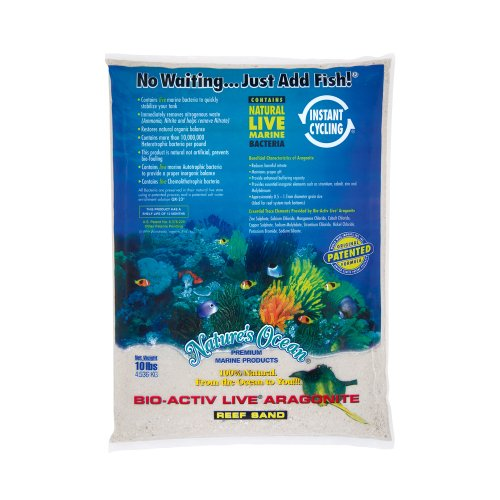 Nature's Ocean No.0 Bio-Activ Live Aragonite Live Sand for Aquarium, 10-Pound, Natural White