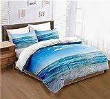 Sea Duvet Cover Ocean 3D Sea Beach Themed Bedding for Teens Boys and Girls 3-Piece Duvet Cover Set Ultra Soft Microfiber Modern Style for Bedroom (Full)