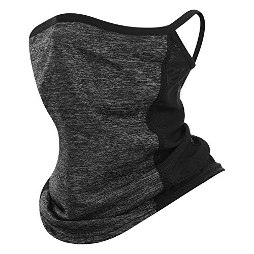 Kimasha Neck Gaiter with Ear Loops and Nose Clip,Adjustable Bandanas Face Cover Scarf for Women & Men Outdoors Sports (Grey)