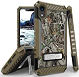 iPhone XR Case, Autumn Camouflage Tree Leaf Real Woods Rugged Hunting Camo Cover [with Metal Kickstand + Wrist Strap Lanyard] for Apple iPhone XR (2018) (Size 6.1' Model) (10R)