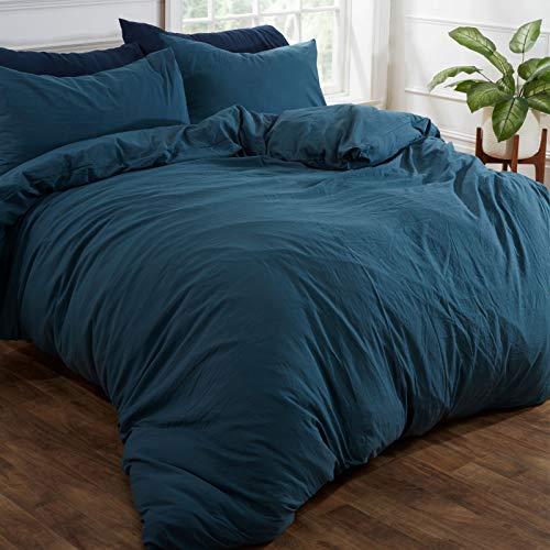 Brentfords Washed Linen Duvet Cover with Pillow Case Soft Brushed Microfiber Bedding Set, 100% Polyester, Teal Blue, Double